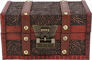 صندوق تخزين خشبي عتيق من كابيلاك - صندوق خشبي للمنزل أو المكتب مع غطاء مفصلي، صندوق تذكاري مع مزلاج معدني