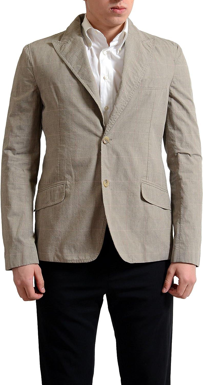 Dolce & Gabbana D&G Men's Beige Plaid Two Button Blazer Sport Coat US 40 IT 50