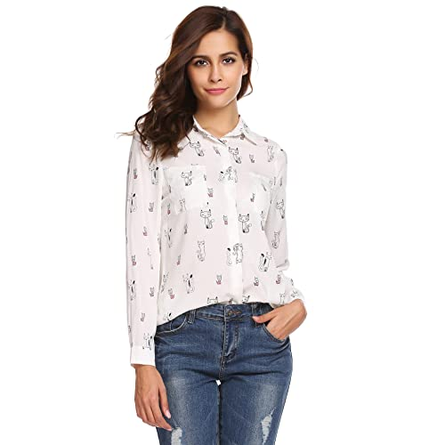 Hink Women Casual Funny Cat Print Loose Long Sleeve O-Neck Button T-Shirt Blouse Tops