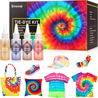 26 Colours Tie Dye Kits, Emooqi Permanent All-in-1 Tie Dye Set with Rubber Bands, Gloves, Apron and Table Covers for Craft Arts Fabric Textile Party DIY Handmade Project
