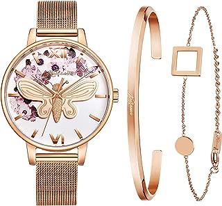 Kaifanxi Women's Quartz Wristwatch Minimalist Modern Design Watch with Gift Bracelet for Ladies Sapphire Crystal Glass Stainless Steel Band & Leather Band