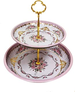 Present Avenue floral 2 tier cake and pastry stand server (Pink Lavender)