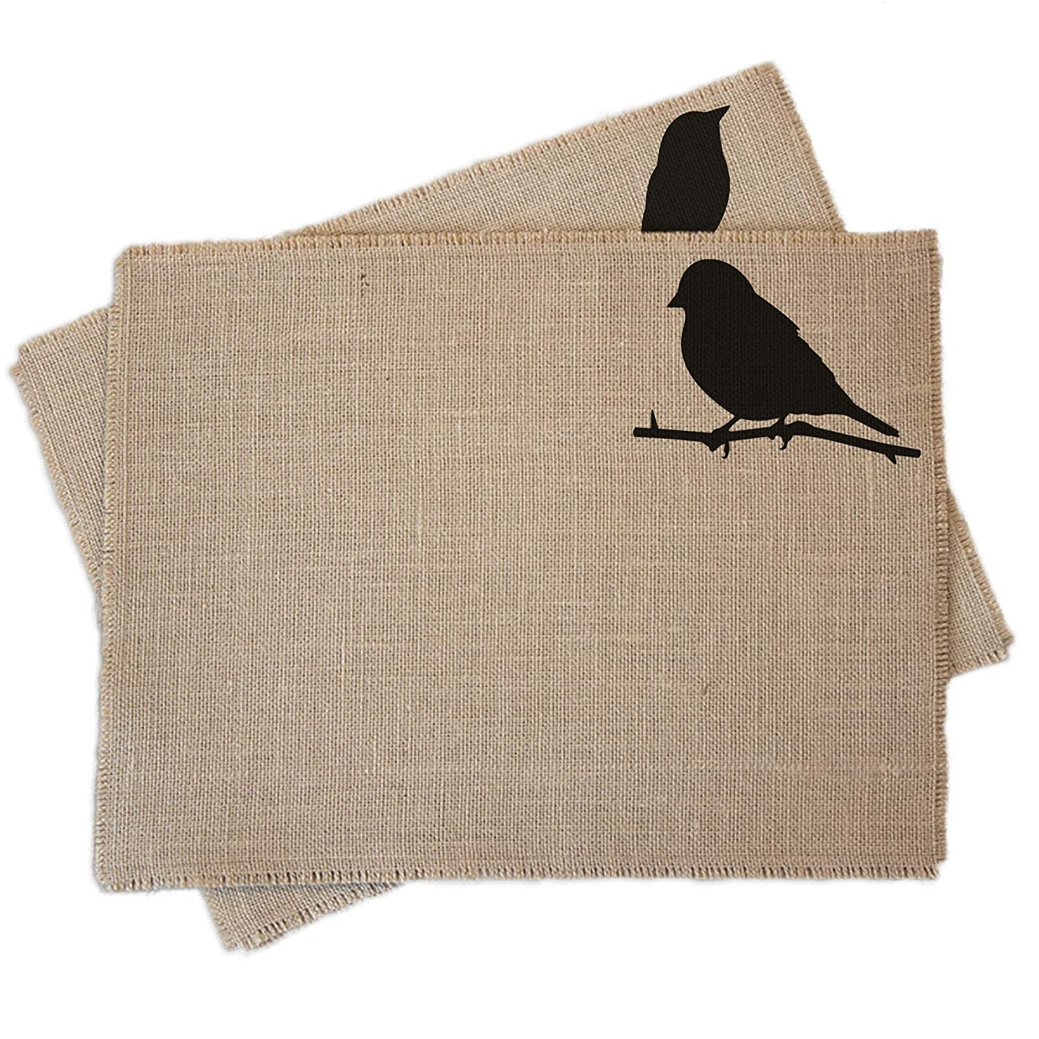 Bird Silhouette burlap Free shipping New placemats set - two of Max 86% OFF