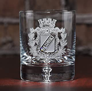 Engraved Coat of Arms, Family Crest Crystal Rocks Whiskey, Scotch, Bourbon Glass SET OF 4 (crest)