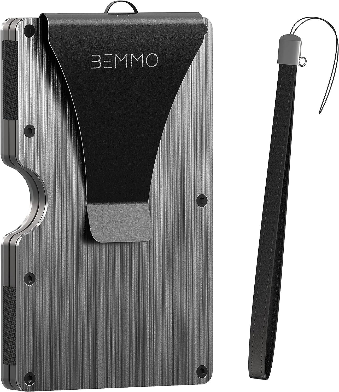 Bemmo Slim minimalist Credit Card wallet with Money Clip aluminum metal holder RFID Blocking carbon fiber, with wristlet strap, Great Gift Idea (brushed gray)