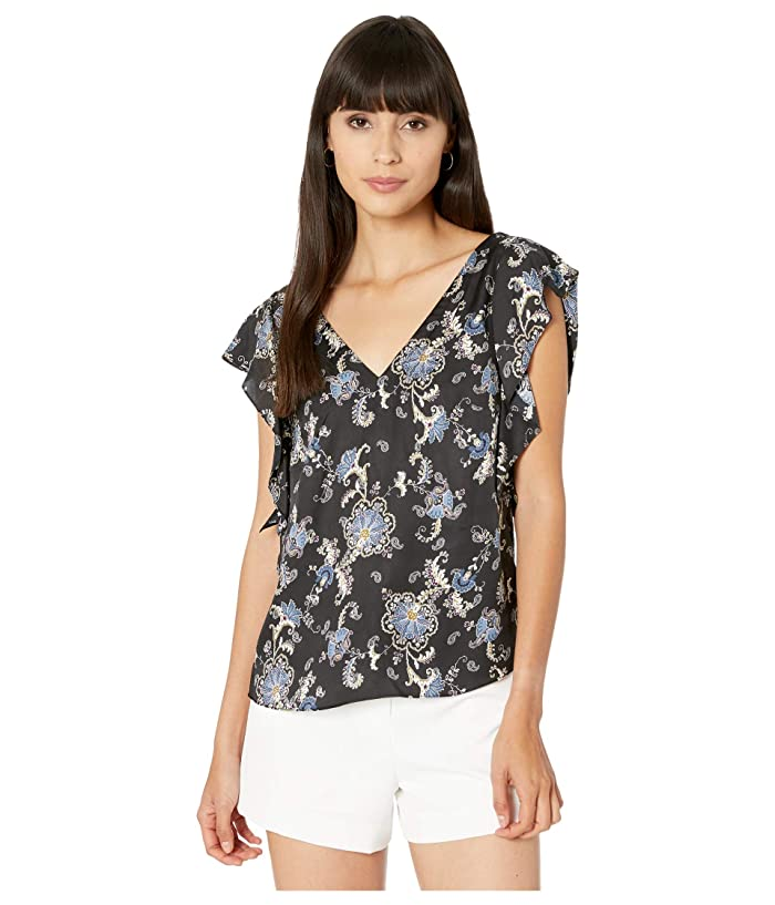 Rebecca Taylor  Sleeveless Paisley Top (Black) Womens Clothing