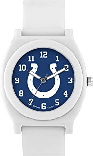 Game Time Women's 'Fan' Quartz Plastic and Rubber Casual Watch, Color:White (Model: NFL-FNW-IND)