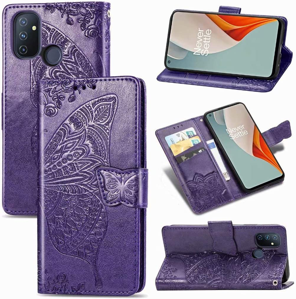 Beautiful 3D Butterfly Phone Shell with Stand//Card Slot Features Black Premium PU Leather Flip Wallet Cover JIAFEI Case for OnePlus Nord N100