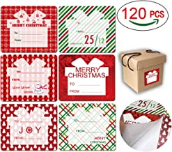 Cualfec 120 Pcs Jumbo 3 x 4 Inches Tag Stickers Self Adhesive 6 Designs Special for Xmas Gift Boxes and Bags