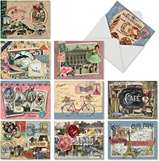 10 Postcard-Style Note Cards with Envelopes 4 x 5.12 inch, Blank 'Papiers De Paris' Greeting Cards, All-Occasion Stationery Set for Weddings, Baby Showers, Thank Yous - NobleWorks M6624OCB