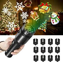 NEXGADGET Christmas Projector Light, LED Decoration Light, Handheld Flashlight for Kids,with Dynamic and Static Images, 12 Slides Portable Party Lights for Home Party, Birthday,Holidays