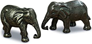 WHW Whole House Worlds Friendly Elephants, Set of 2, Table Top Centerpiece Ornament Sculptures, Each 7 Inches Long, Rustic Brown, Cast Polyresin