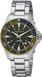 Hamilton - H82375161 - Reloj analógico automático para hombre con esfera y bisel verde, correa de acero inoxidable y reserva de carga de 80 horas