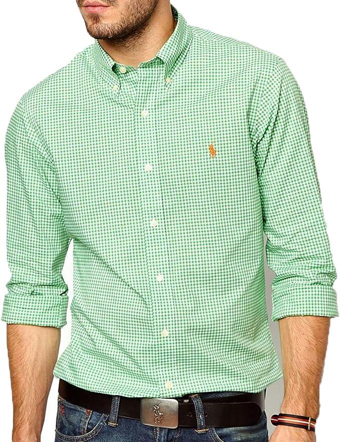 Ralph Lauren tiempo libre de camisa verde blanco a cuadros ...