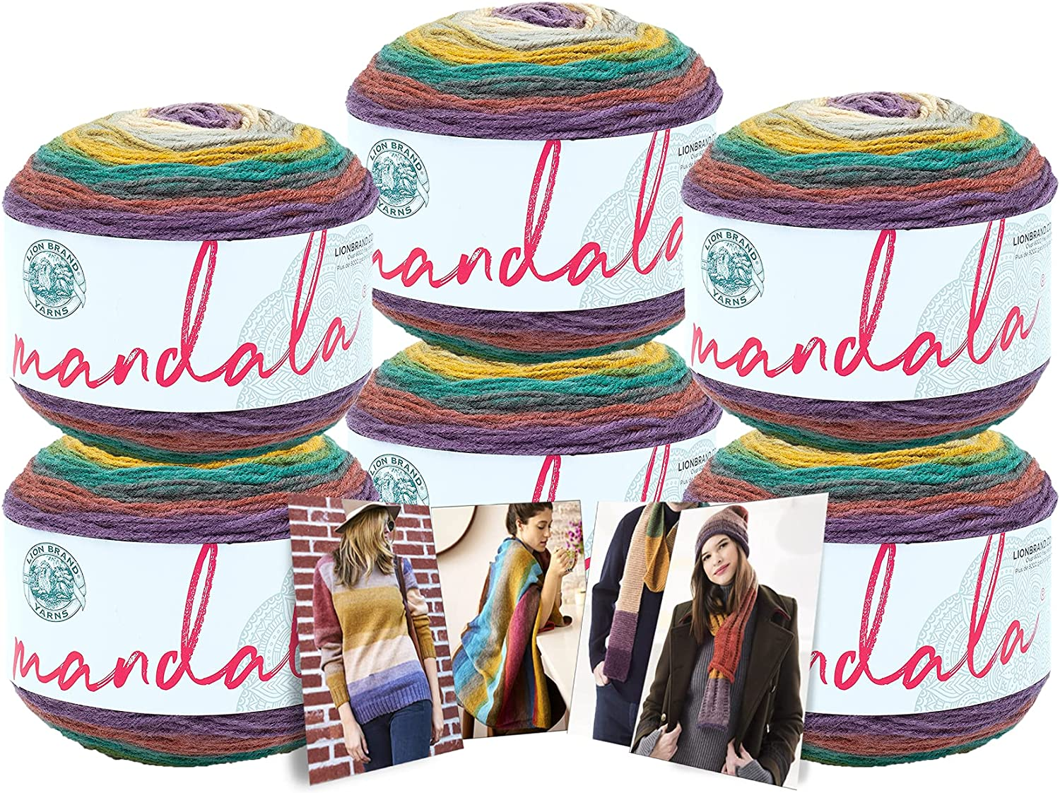 Lion Brand Mandala Yarn - Limited time for free shipping Virginia Beach Mall 6 Pack Cards Pattern Color with in Wa
