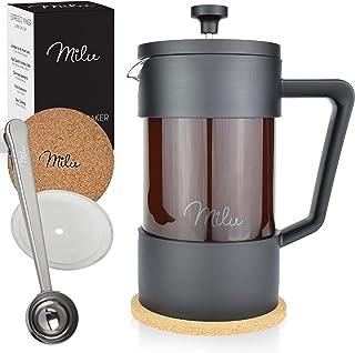Milu fransk kaffepress | 350ml 600ml 1L | homgeek French Press Kaffeebereiter glas ersättningsfilter Kaffebryggare (svart,...