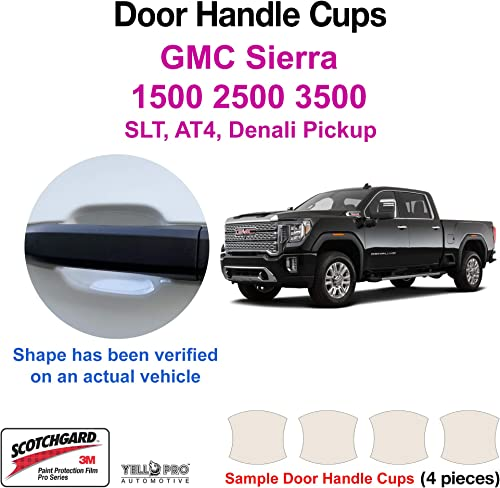high quality YelloPro sale Custom Fit Door Handle Cup 3M Scotchgard Anti Scratch Clear Bra Paint Protector Film Cover Self popular Healing PPF Guard Kit for 2019 2020 2021 2022 GMC Sierra 1500 2500 3500 Pickup Truck outlet sale