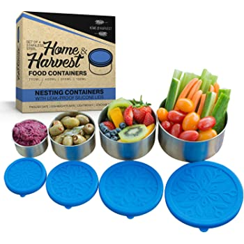 Stainless Steel Food Storage Containers by Home & Harvest (Set of 4 with Leak-Proof Silicone Lids)