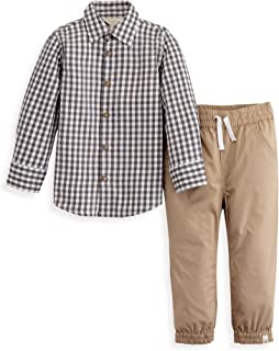 Burt's Bees Baby Baby Boys Gingham Button Front Shirt and Poplin Jogger Pant Set
