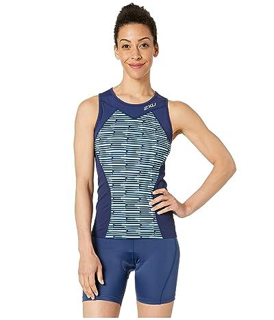 2XU Active Tri Singlet (Navy/Aqua Splash Line Print) Women