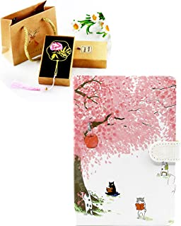 Minittine Cherry Blossom Tree and Reading Cats Colorful Diary with Magnetic Clasp in Set with Tender Bookmark