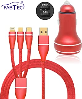 Fabtec 4.8A Dual Port Smart & Rapid Charging Car Mobile/iPad/Tablet Charger with 3 in 1 USB Nylon Braided USB Charging Cable for Samsung, iPhone & Type C Android Phones