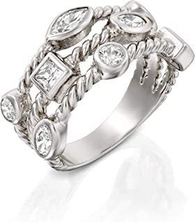 PZ Paz Creations .925 Sterling Silver Cubic Zirconia Triple Row Band Ring