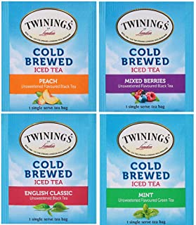 Twinings Cold Brewed Iced Tea Bag Assorted Sampler Ct Includes: Mint, English Classic, Mixed Berries, and Peach - With Pure Cane Sugar (20)