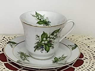 Lily of the Valley Porcelain 7.5 oz. Tea Cup and Saucer Made in USA