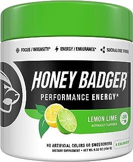 Honey Badger Vegan Keto Pre Workout | Lemon Lime | Natural Paleo Sugar Free Pump Energy Supplement Nootropics Amino Acids ...