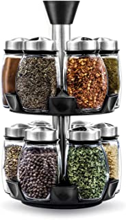 12-Jar Revolving Spice Rack Organizer, Spinning Countertop Herb and Spice Rack Organizer with 12 Glass Jar Bottles (Spices...