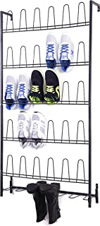 MyGift Black Metal Wall Mounted Boots and Shoe Rack, 18 Pair Entryway Shoe Storage Organizer Stand