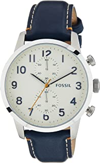 Fossil Men's White Dial Leather Band Watch - FS4932