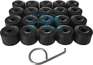 Prime Ave Black Wheel Lug Cap Covers for VW Part# 1K06011739B9 ~Set of 20 + Removal Tool (B: with Wheel Locks)