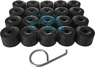 Prime Ave Black Wheel Lug Cap Covers for VW Part# 1K06011739B9 ~Set of 20 + Removal Tool (A: Without Wheel Locks)