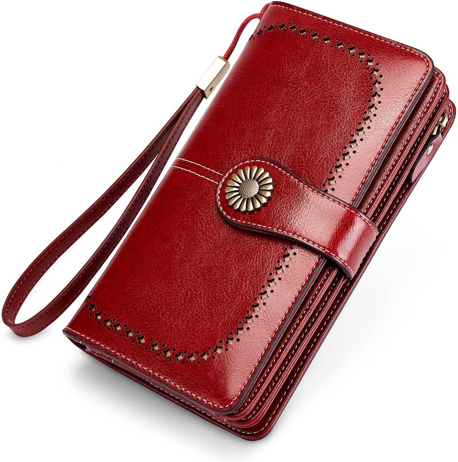 INSIFEEL Women's Wallets Large Capacity with RFID Protection Genuine Leather Wristlet Handbags (Red)