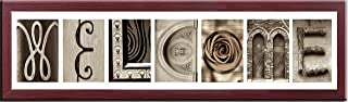 Imagine Letters 7-Opening, White Matted Brown Photo Collage Frame
