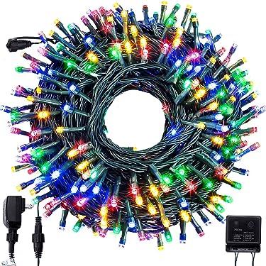 Forspark - Guirnalda de luces LED para exteriores, para árbol de Navidad, decoración para interiores y exteriores, Halloween, jardín, patio, boda, fiesta, fiesta, 300 LED, multicolor