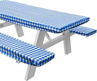 Sorefy Vinyl Picnic Table and Bench Fitted Tablecloth Cover, Checkered Design, Flannel Backed Lining, 28 x 72 Inch, 3-Piece Set, Blue