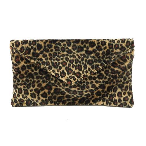 898701f1bafd Loni Womens Neat Envelope Animal Print Faux Fur Clutch Bag Shoulder Bag