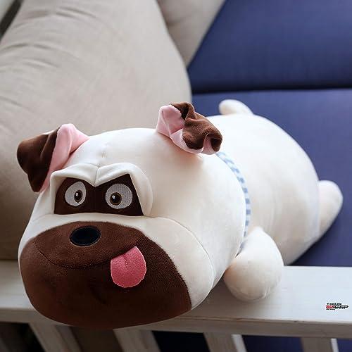 DONGER Niedliche Mops Puppe Spielzeug Shar Pei Puppe Prinzessin Schlafen Welpen Kissen Ragdoll Geschenk, Weißer Hund, 65 cm