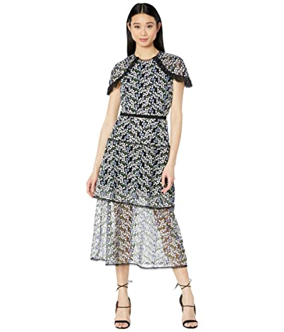ML Monique Lhuillier Short Sleeve Embroidered Mesh Midi Dress w/ Trim Detail (French Blue Multi) Women