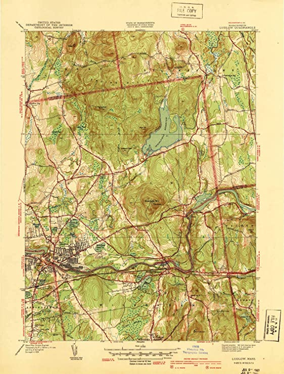 1954 Ludlow MA topo map 1:31680 Scale 7.5 X 7.5 Minute Updated 1956 Historical 20.8 x 17 in