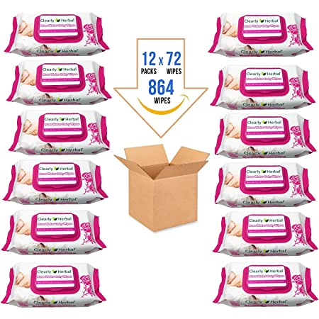 Clearly Herbal Gentle Baby Wipes - Case of 12 - 72 Wipes Each - 864 Total Wipes