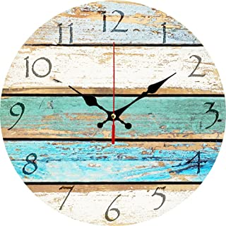 """Grazing 12"""" Vintage Arabic Numerals ,Shabby Beach, Weathered Beachy Boards Design.."""