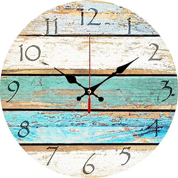 Grazing 12 Vintage Arabic Numerals Shabby Beach Weathered Beachy Boards Design Ocean Colors Old Paint Boards Printed Image Rustic Mediterranean Style Wooden Decorative Round Wall Clock Sky