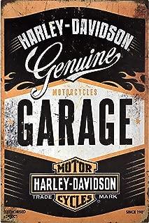 UNiQ Designs Vintage Tin Signs -Harley Davidson Garage Decor Retro Garage Poster Bar Wall Sign - Antique Metal Vintage Pub Sign, Pin Up Garage Sign or Garage Decor Metal Signs for Men Tin Sign 12 x 8