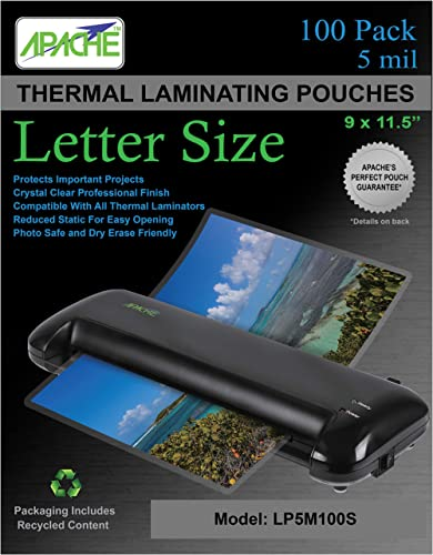 Apache Laminating Pouches, 5 mil, Letter Size, 100 Pack