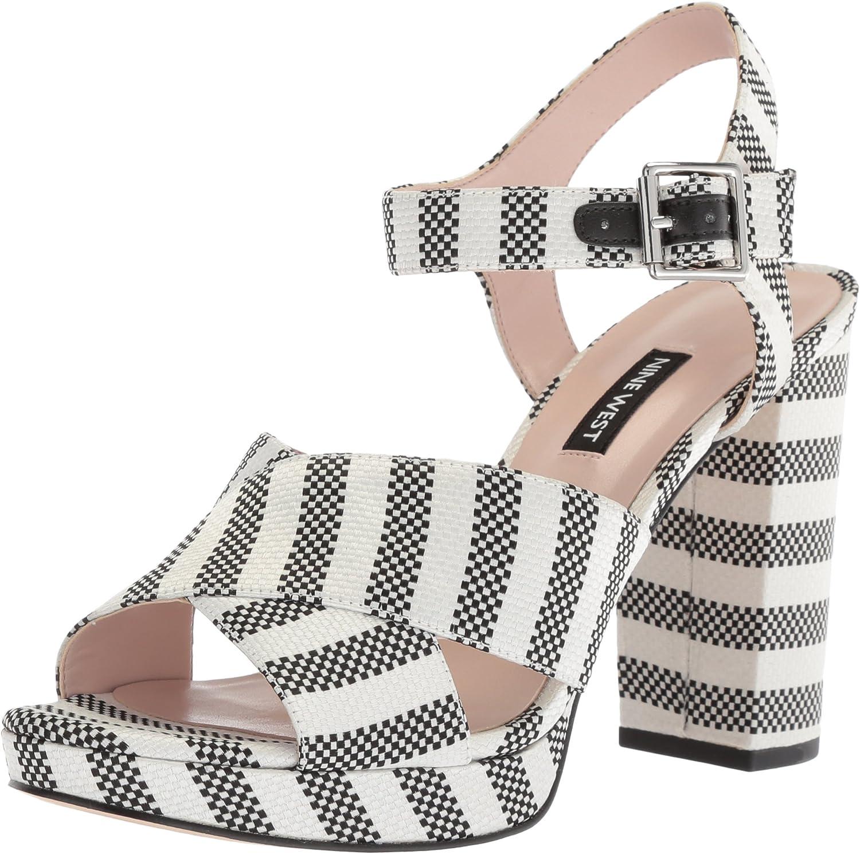 Nine West Womens Jimar Fabric Heeled Sandal