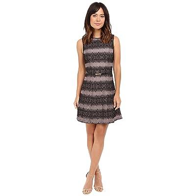 Jessica Simpson Bonded Stripe Lace Dress (Black/Shell Pink) Women